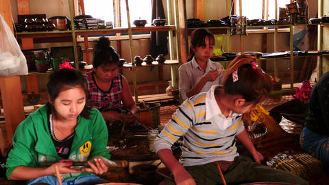 Women hand work in Tobacco factory - Myanmar Footage