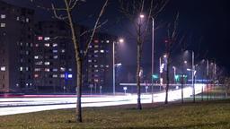 Light trail traffic on city street. Night time Footage