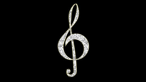 Diamond Treble Clef Loop with Alpha Channel Animation