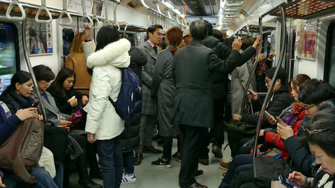 Asian People Traveling On Subway Train In Seoul Korea Asia Live Action