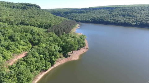 Aerial view from a great height to the forest and a large river Footage