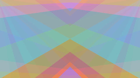 Abstract video background, kaleidoscopic pastel colored triangles in symmetrical Animation