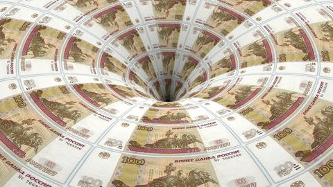 russian rubel banknotes flow in hole Animation
