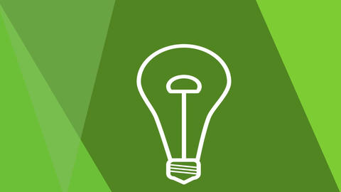 Green power animated bulb rotating and flickering on greenish geometric backgrou Animation