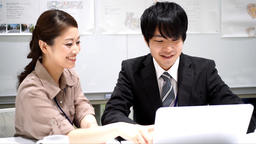 Men and women who work (collaborative work / colleagues / new recruits) Slow mot ビデオ