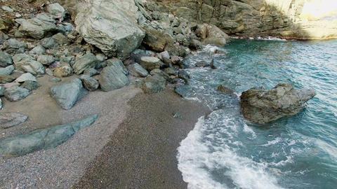 Unspoiled Virgin Mediterranean Black Beach Aerial Shoot