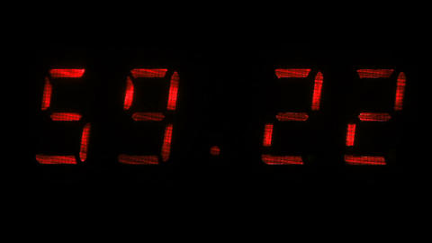 Digital clock shows the time of 59 minutes 10 seconds to 59 minutes 40 seconds Footage