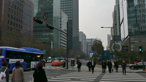 Urban View Of Seoul Korea Asia City Traffic And Cars Live Action