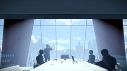 Silhouette of Business People Team, Rear View City Skyline Animation