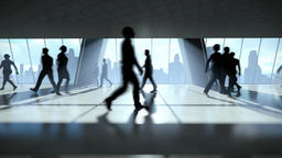 Business People Silhouettes Walking Commuter, Rear View Cityscape Animation
