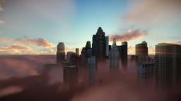 City skyline against sunset, flight over clouds, dolly shot Animation