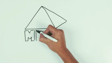 Man draw dimensional pyramid with letters using black marker pen on whiteboard Live Action