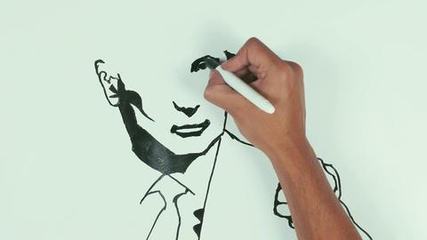Man draw vladimir putin face caricature with black marker pen on whiteboard Footage