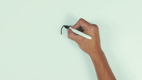 Man hand draw question mark using black marker pen on whiteboard and wipe it Footage