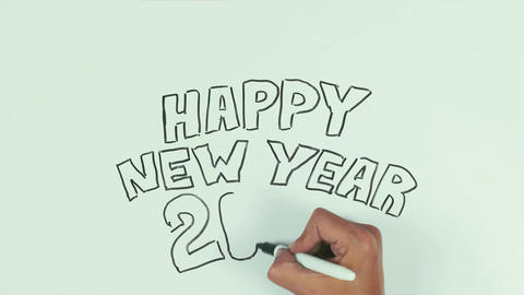 Man hand write happy new year 2017 using black marker pen on whiteboard Footage