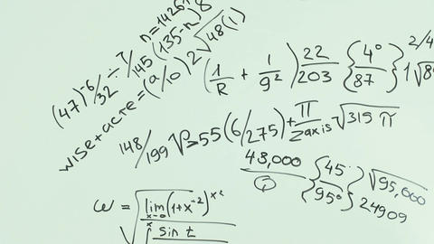 Man write bunch of mathematical formulas using black marker pen on whiteboard Footage