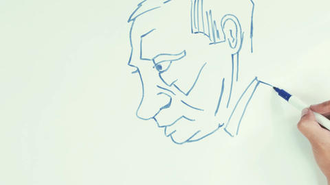 Man speed draw vladimir putin face caricature with blue marker pen on whiteboard Footage