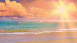 Beautiful landscape with exotic beach against fishing boat swaying on sea waves Footage