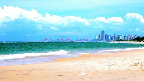 Beautiful landscape with seashore and skyscrapers in sunny day. Sri Lanka Footage