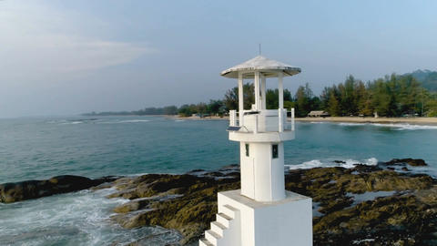 Close-up of a lighthouse on the coast. Aerial. Khao Lak. Thailand Footage