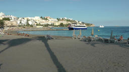 Europe Spain Balearic Ibiza towns and villages 011 palm tree shadow on sand Footage