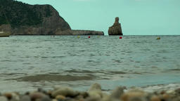 Europe Spain Balearic Ibiza coves and landscapes 012 the bay Cala Benirras Footage