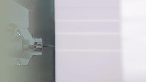 Macro Big White Foam Rubber Block Cut by Sharp Laser Blade Live Action