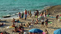 Europe Spain Balearic Ibiza coves and landscapes 041 beach full of people Footage