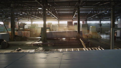 Panorama of Warehouse with Finished Foam Rubber Production Footage
