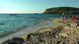 Europe Spain Balearic Ibiza coves and landscapes 042 beach and sea in flat light Footage