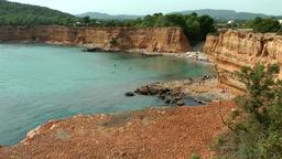 Europe Spain Balearic Ibiza coves and landscapes 060 Sa Caleta bay panorama Footage