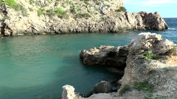 Europe Spain Balearic Ibiza coves and landscapes 070 rocks in Cala Olivera Footage