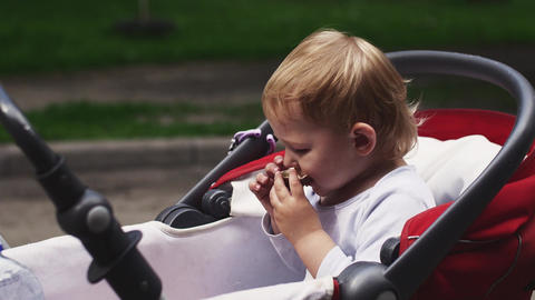 Little blonde boy eating kinder surprise in baby carriage on street. Summer day Footage