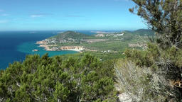 Europe Spain Balearic Ibiza coves and landscapes 091 view on Cala d'Hort Footage