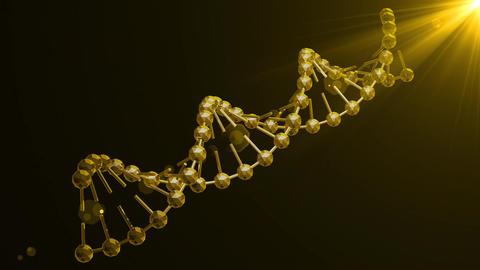 Rotating Golden Poligonal DNA 4K Animation