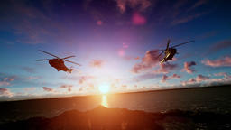 Military helicopter formation flying at sunset Animation