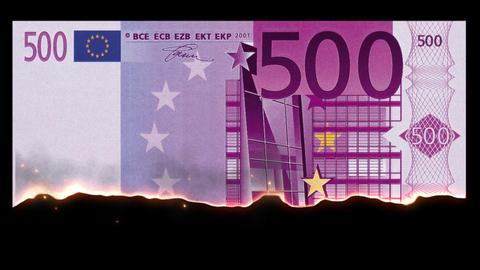 Burning 500 Euro Filmmaterial