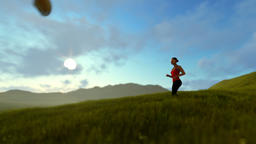 Woman running on green meadow panning, morning Animation