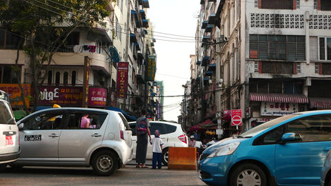 cars motion on Streets of Yangon - Myanmar Footage