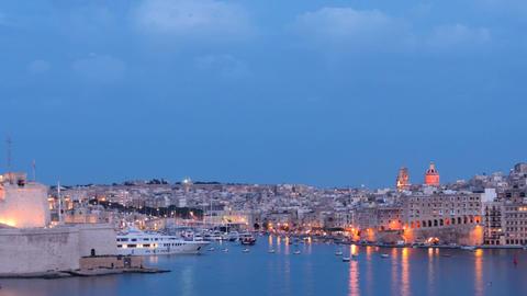 Evening colors of Valletta - capital of Malta - hyperlapse Footage