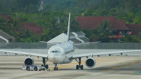 Qatar Airways Boeing 777-300ER prepares to flight Footage