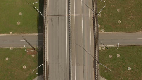 Aerial View Empty Road Junction among Green Fields Footage