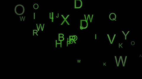 Green colorful letters abstract animation with alpha channel Animation