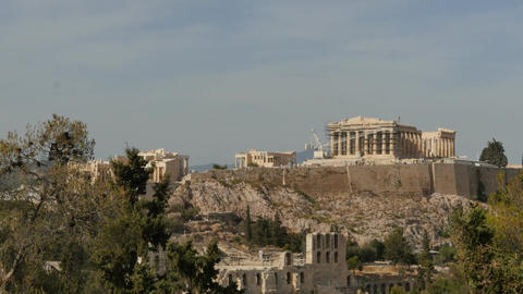 Parthenon in Athens acropolis - time lapse from distance Footage