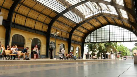 metro in Athens - train arrival hyperlapse in Piraeus subway station Footage
