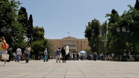Greek Parliament building on Syntagma square - follow focus time lapse Footage