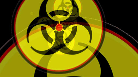 Symbol of biological threats. Signs warning of biological hazards are flying at  Animation