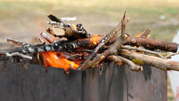 Fire and meat cooking on skewers over the coals in brazier - few videos sequence ビデオ