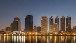Aerial view of Bangkok modern office buildings and condominium GIF
