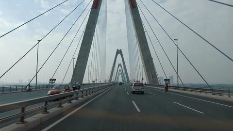 The bus rides on the bridge of Hanoi Footage
